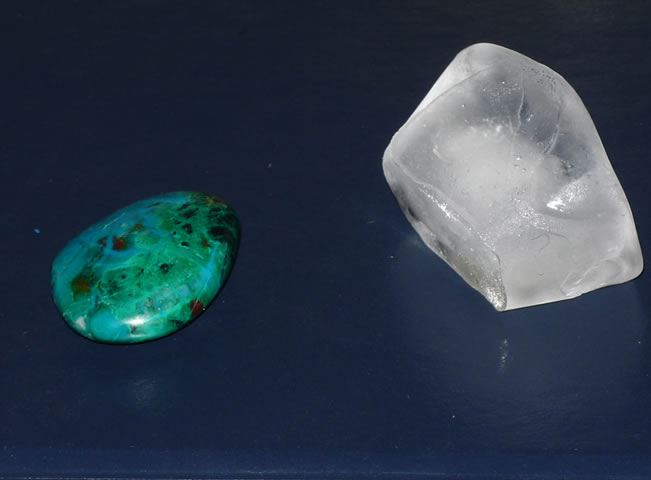 photo of chrysacolla and ice cube