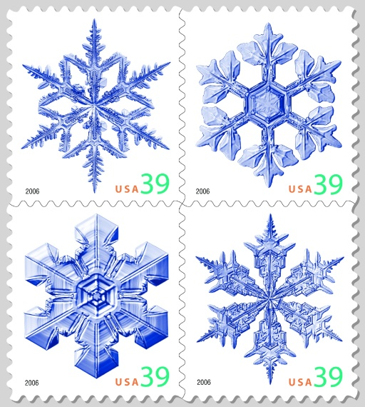 snowflake stamps from the United States Postal Service